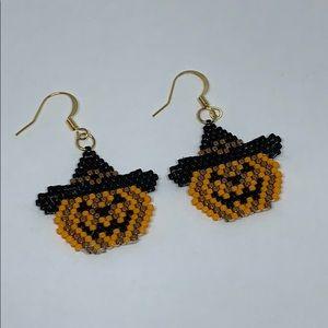 Jack -O'-Lantern Earrings - Delica Beads